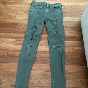 American Eagle Green/Grey Skinny Jeans